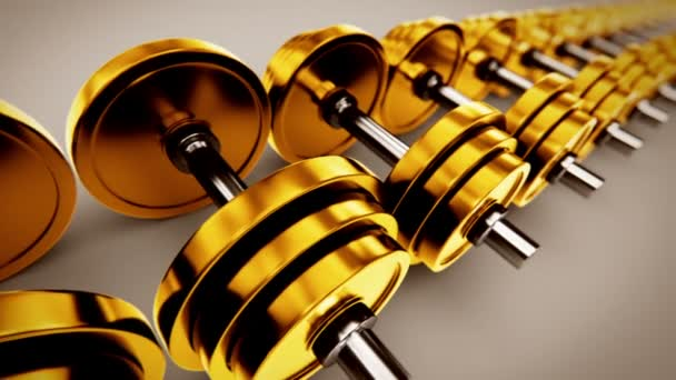 Golden dumbbells with adjustable weights.