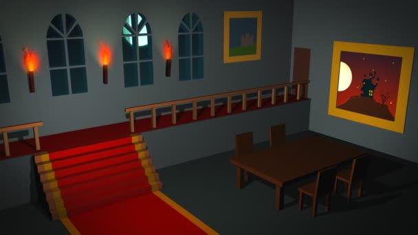 Strašidelné interiér s duchy v domě
