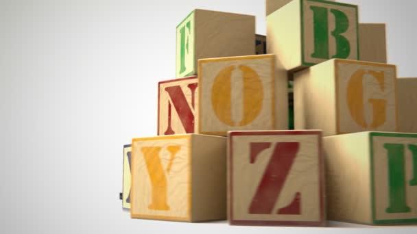Complete Alphabet On Wooden Blocks