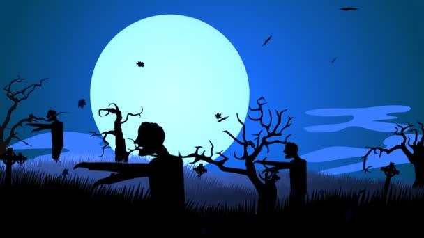 Creepy Zombie Walking At Spooky Graveyard