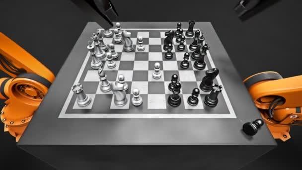 Due robot di montaggio braccio giocando a scacchi