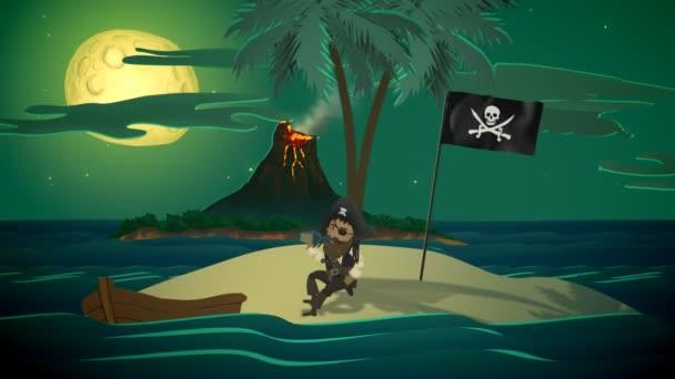 Pirát a lodí v oceánu