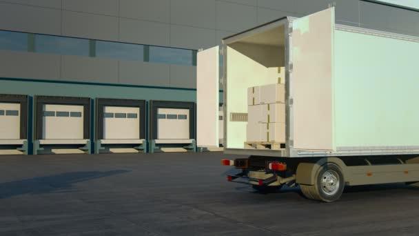 Targonca kirakodási köteg dobozok egy szállítás teherautó
