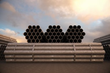 Steel pipes bunches. Tubes building construction
