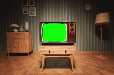 Old Vintage Television In House with Green Screen