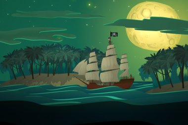 Pirate Ships In Sea. Danger Robbery