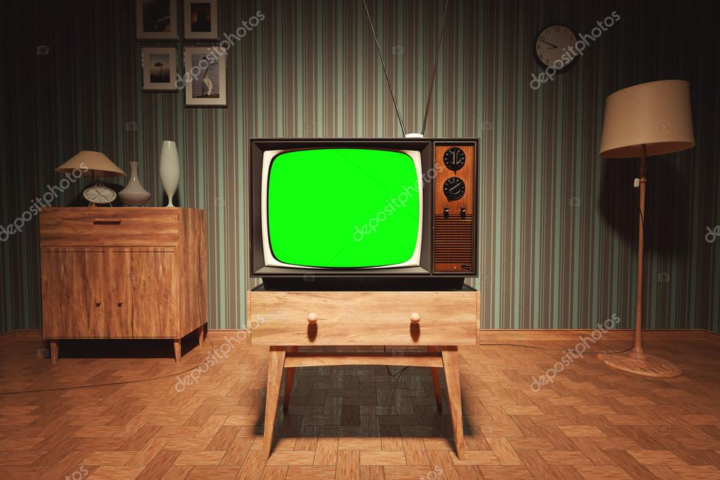 Authentic Static On Old Fashioned TV Screen At Home Green Screen U2014 Photo By  3dmentat