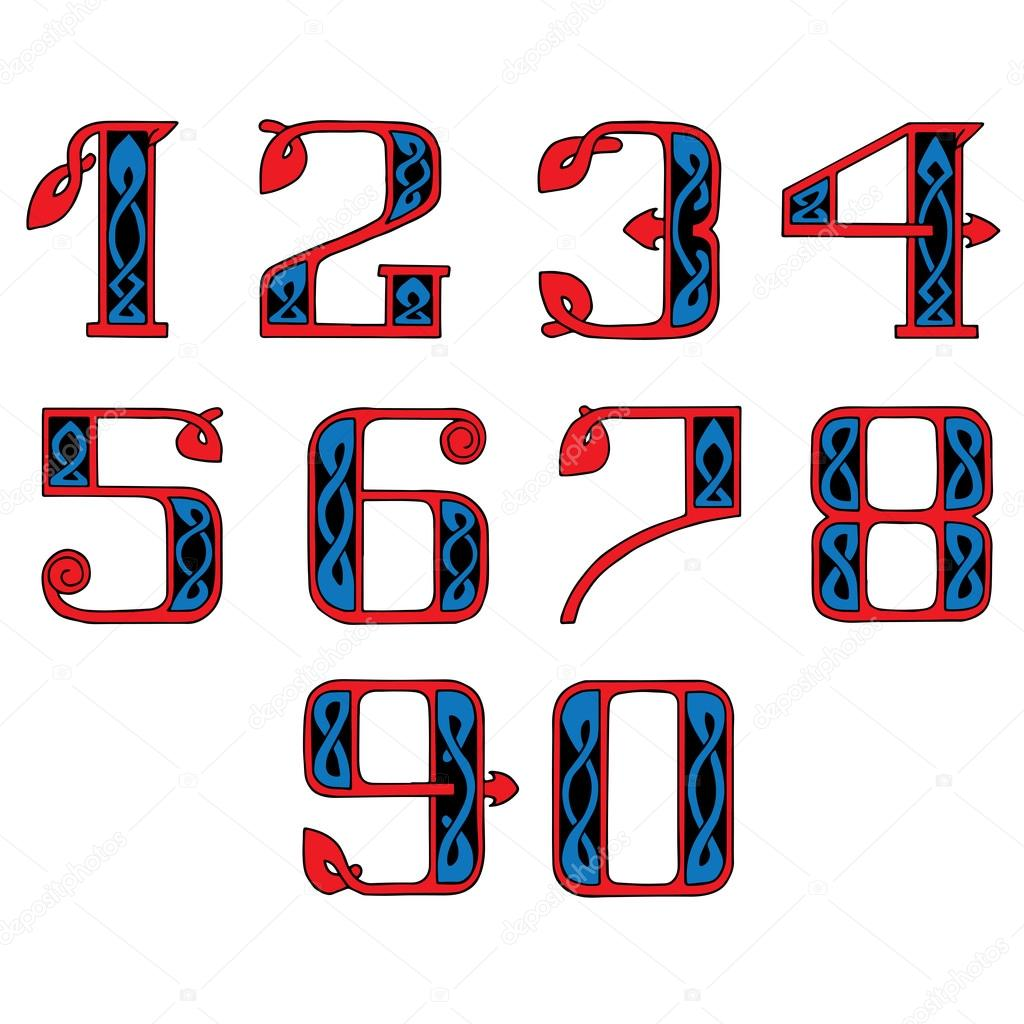 A Set Of Numbers In The Celtic Style Stock Vector Volandemorius