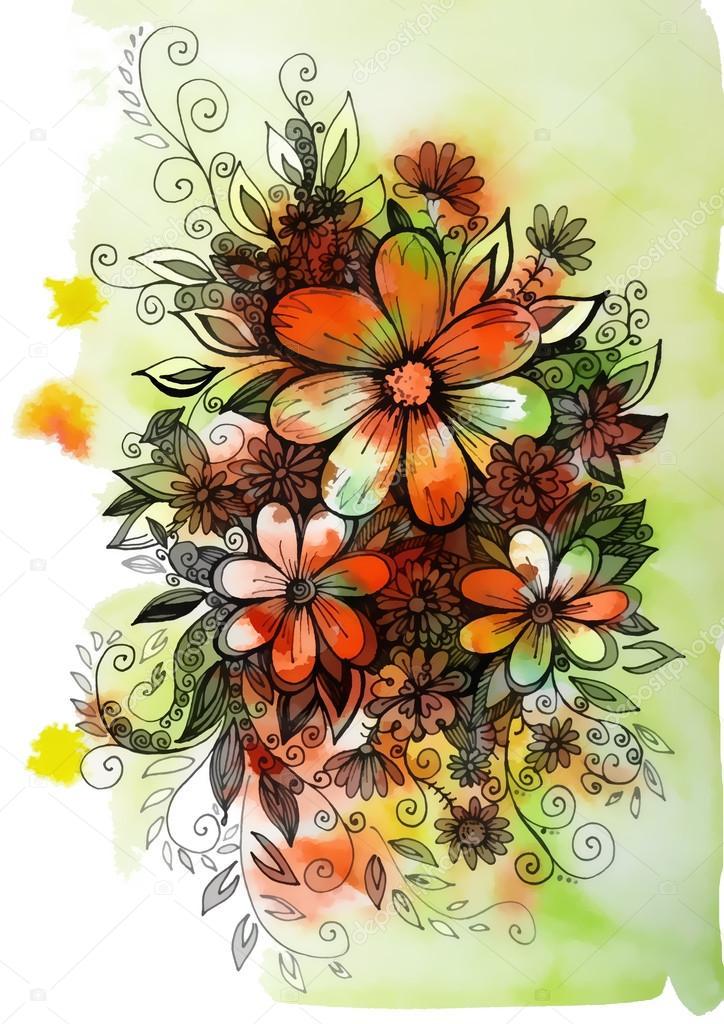Graphique De Belle Couleur Dessin Fleurs Sauvages Photographie