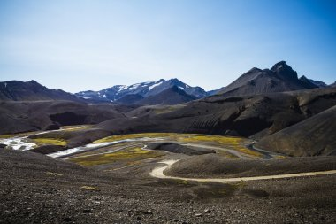 Volcanic landscape with river in south Iceland