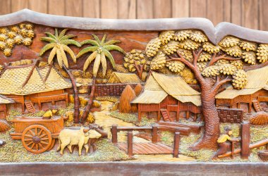 Old and dirty Thai culture wood carved