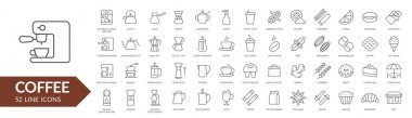Coffee line icon set. Coffee makers, dishes, spices. Vector illustration icon