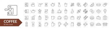 Coffee line icon set. Coffee makers, dishes, spices. Vector illustration. icon