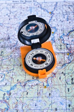Travel compass and map symbols adventures.