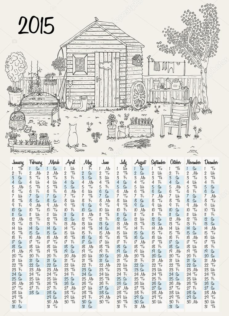 2015 calendar with garden illustration