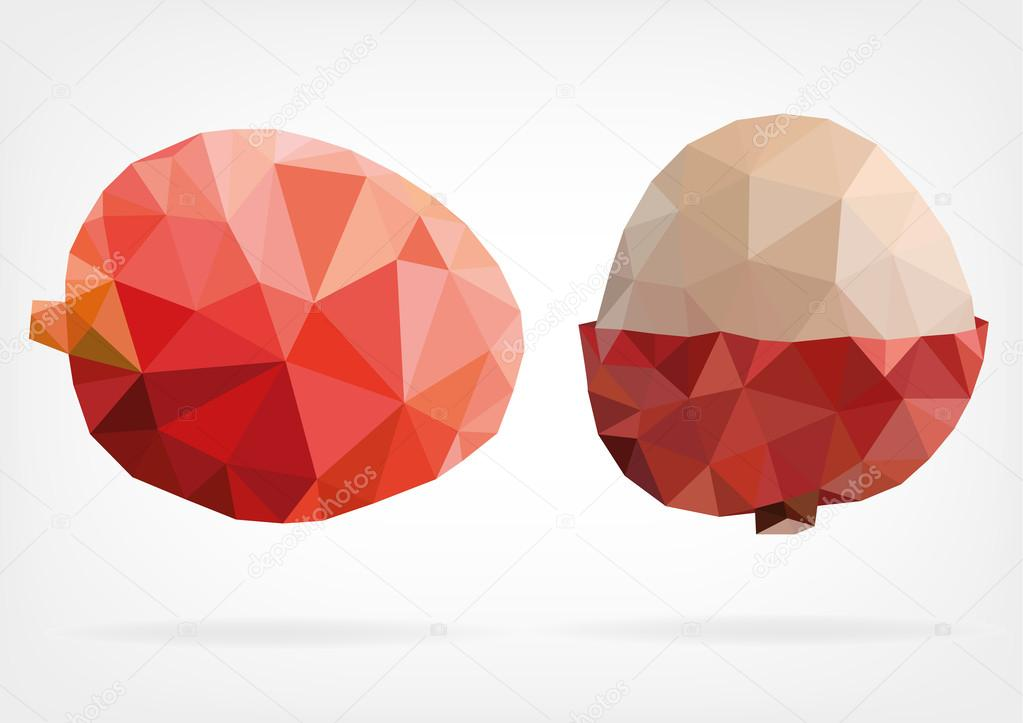 Low Poly Lychee fruit