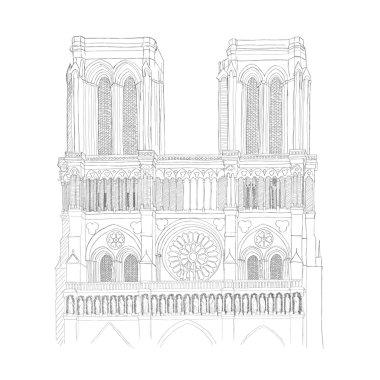 Notre Dame Cathedral in Paris - urban sketch