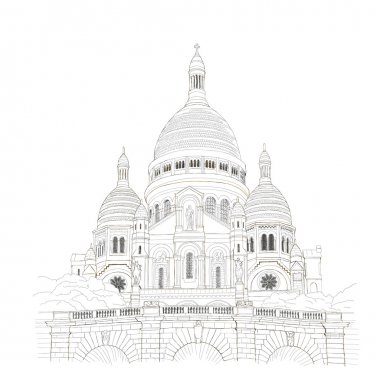Paris urban sketch of Sacre Coeur de Montmartre