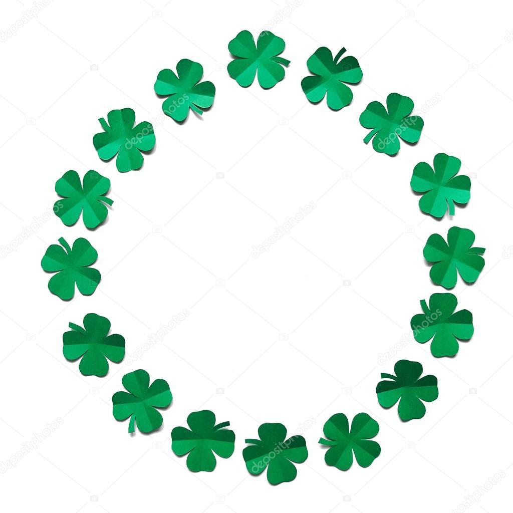 Trébol de trébol verde esmeralda papel hojas marco de frontera la ...