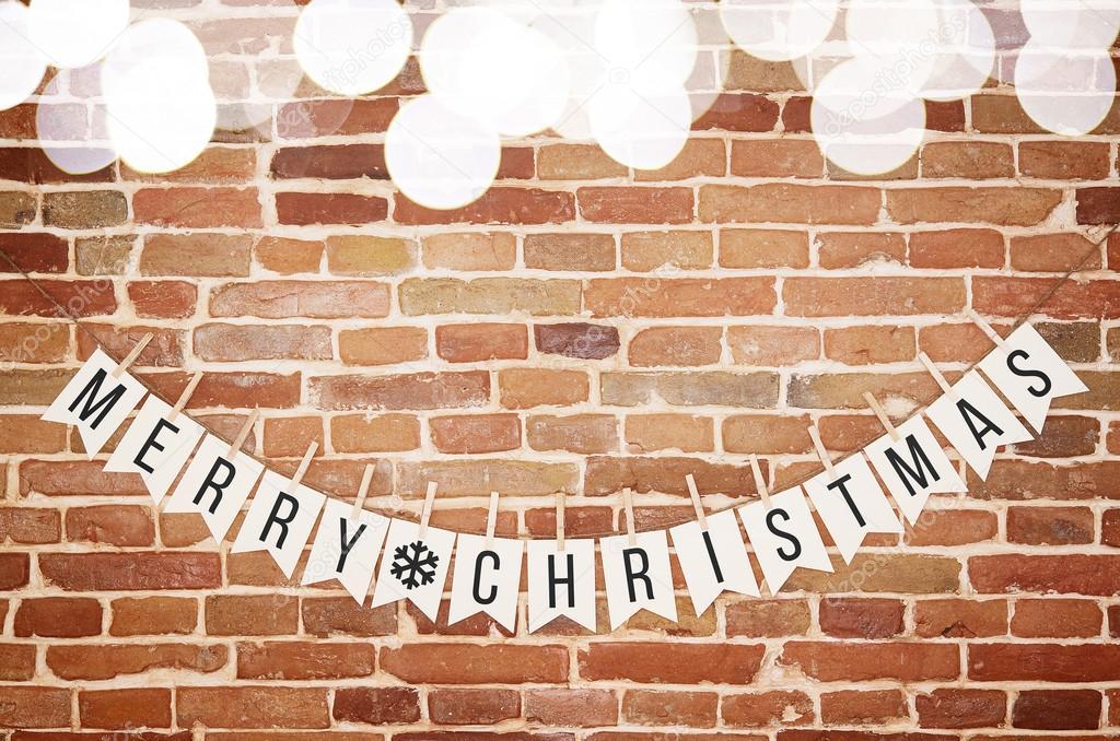 Schwarz und wei frohe weihnachten papier karte backstein - Ziegel deko wand ...