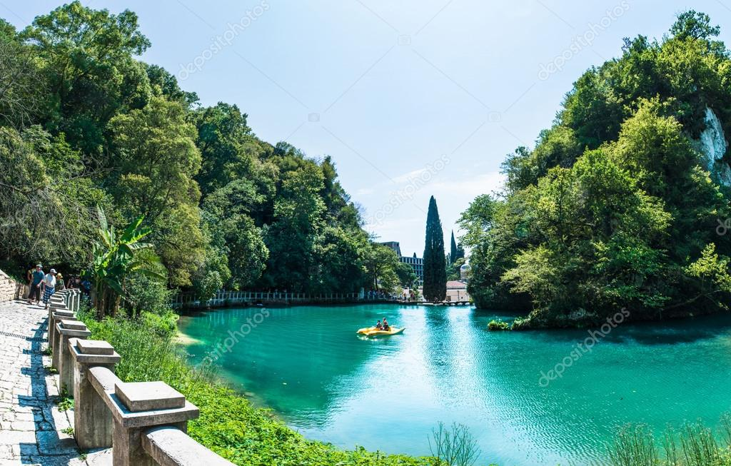 Rits's lake Abkhazia panoramic view