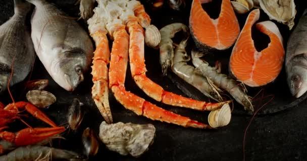 Eine Auswahl an verschiedenen Arten frischer Meeresfrüchte.
