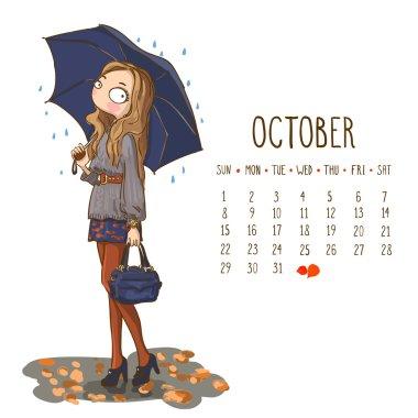 Calendar 2017, October month. Season girls design. Vector illust