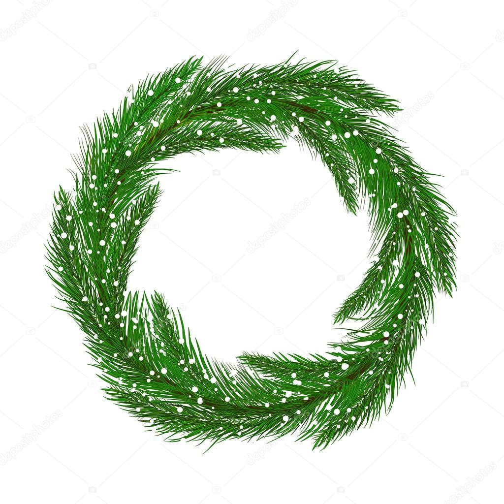 Round frame with decorative branch vector illustration stock - Christmas Wreath Without Decoration Round Frame Of Pine Branches Isolated On White Vector Image For Christmas New Year S Day Decoration Winter Holiday