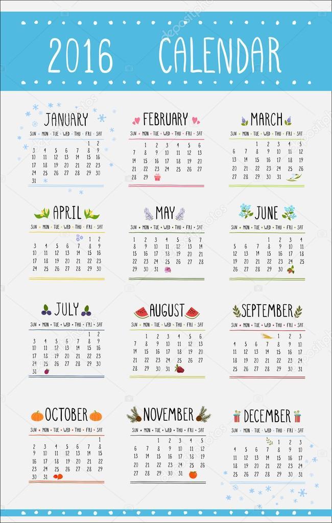 2016-illüstrasyon için 12 ay takvimi — Stok Vektör