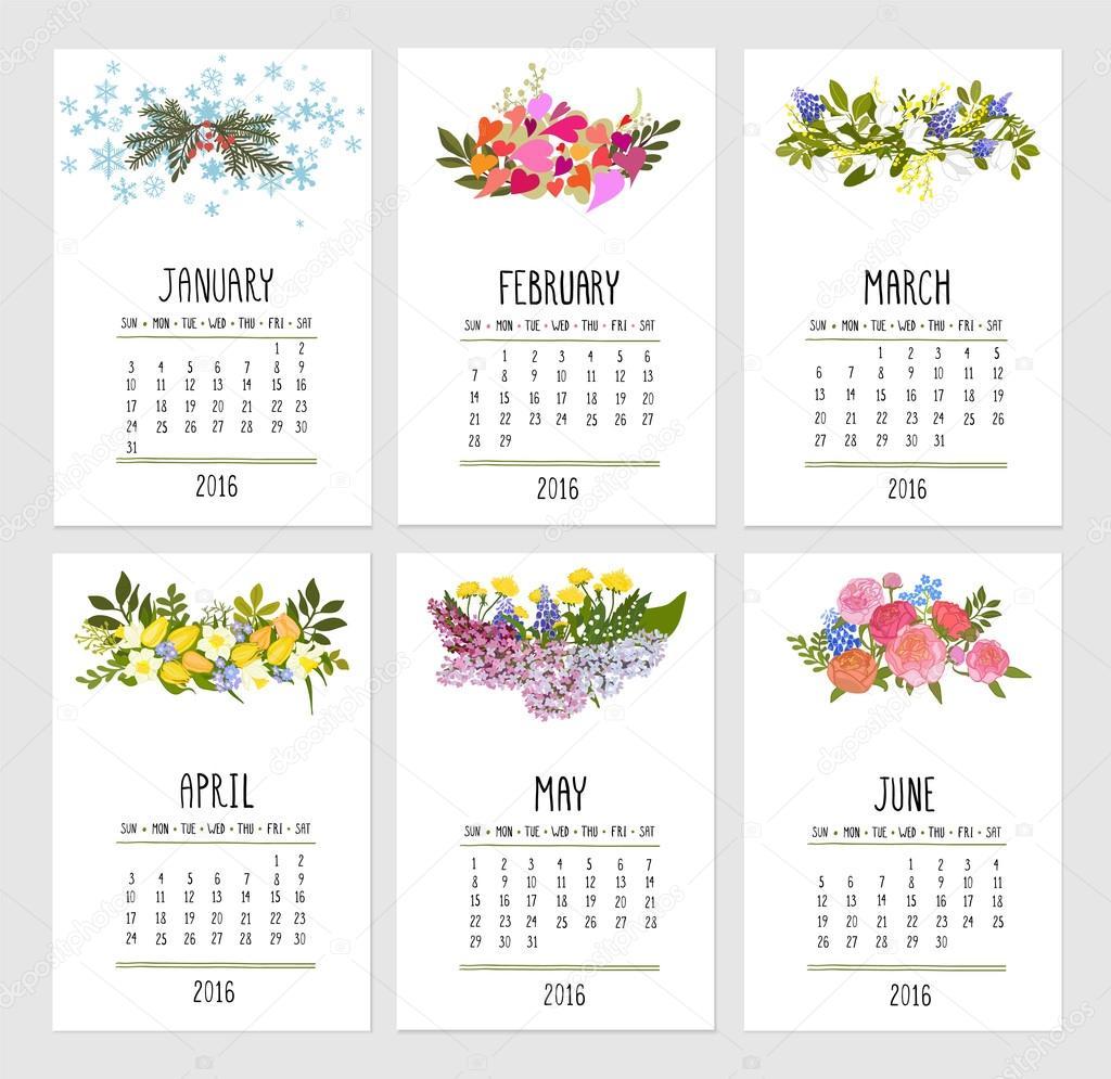 Calendar Set for 2016 - Illustration