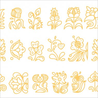 Pattern in folk style. Hand-drawn pattern with flowers.