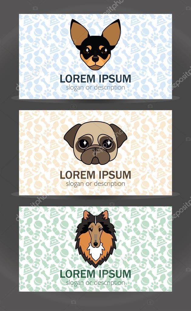 business card templates set of a small veterinary clinic, dog br ...