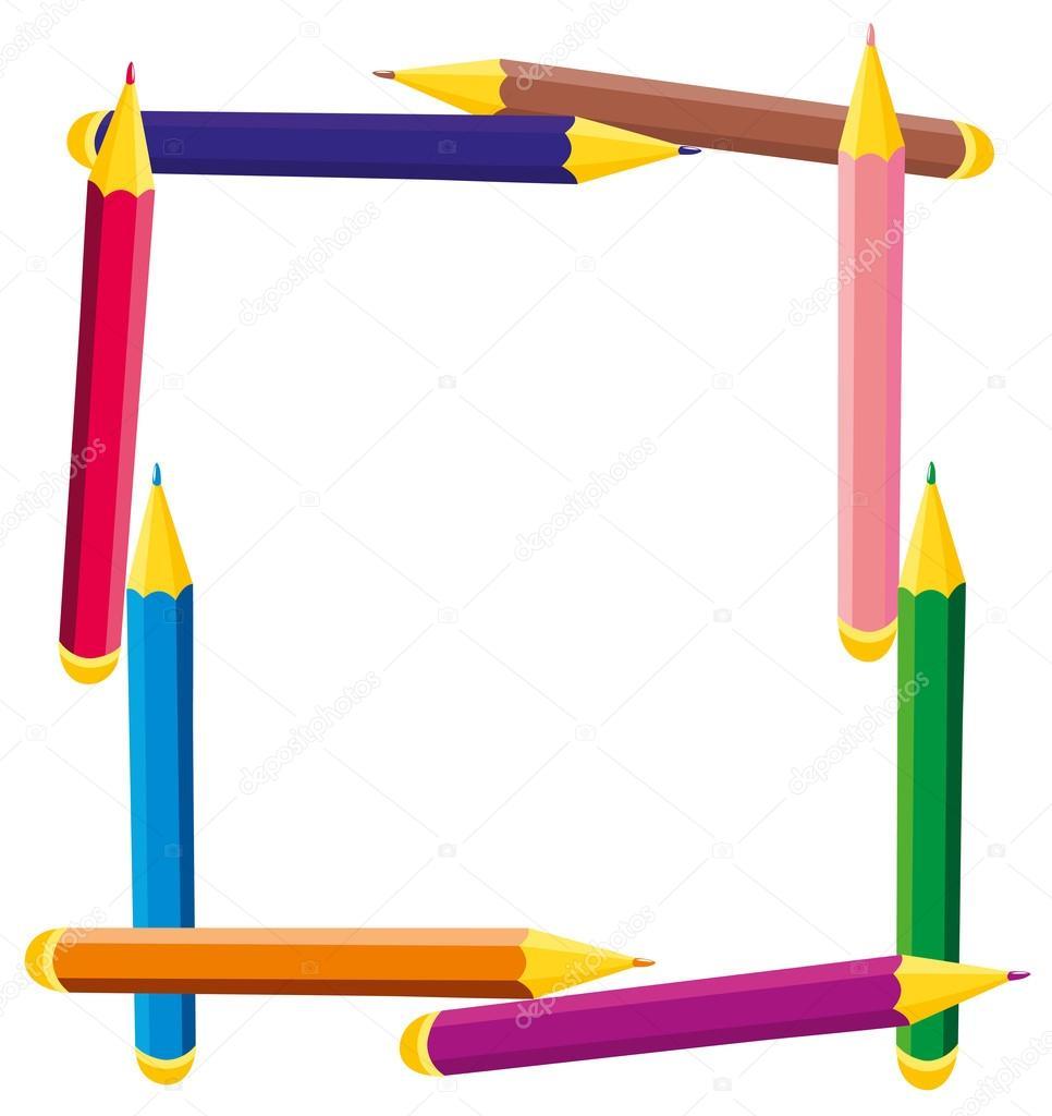 Marco cuadrado del vector de l pices de colores vector - Marco de fotos multiple ...
