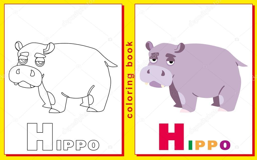 Libro para colorear para los niños con letras y palabras. Hipopótamo ...