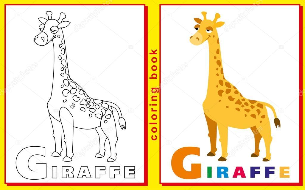 Libro para colorear para los niños con letras y palabras. jirafa ...