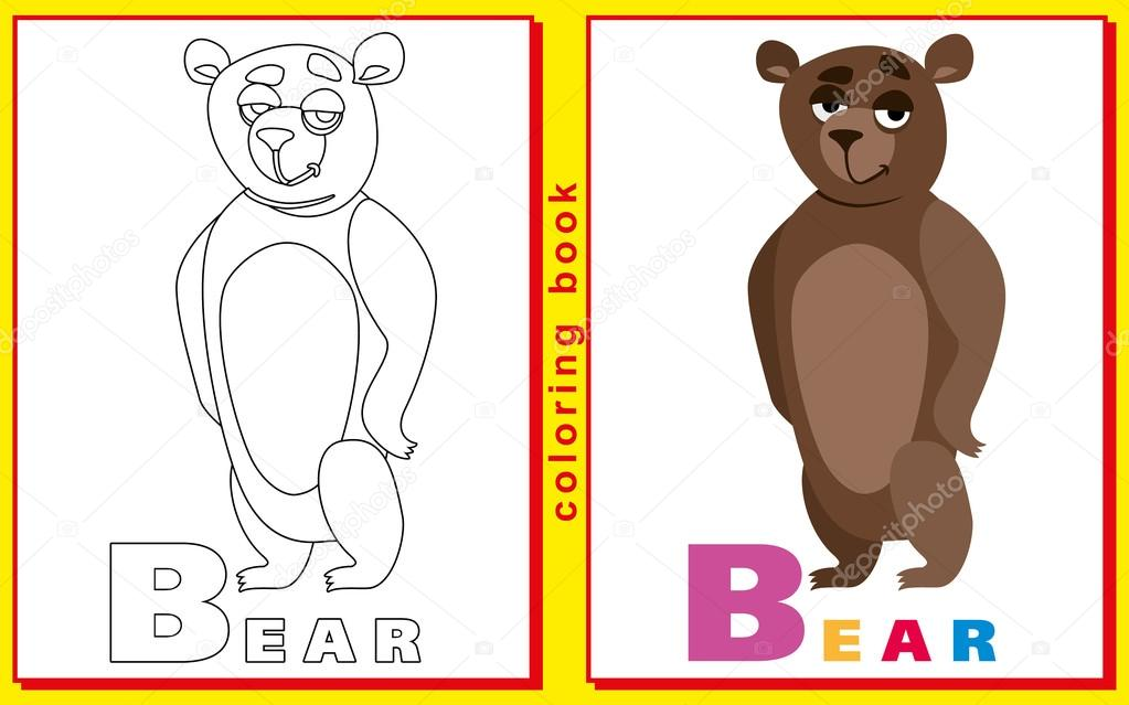 children\'s coloring book with letters and words. letter B. Bear ...