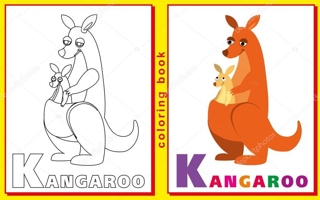 canguro. Libro con las letras para colorear para niños. Vector de la ...