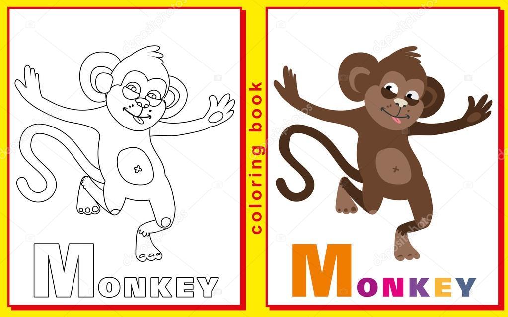 Libro para colorear para los niños con letras y palabras. Mono de M ...