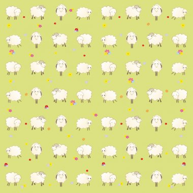 Wallpaper with lambs on a green background