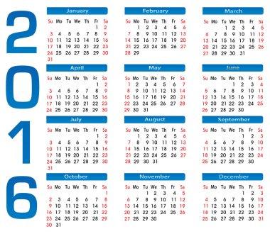 square calendar 2016