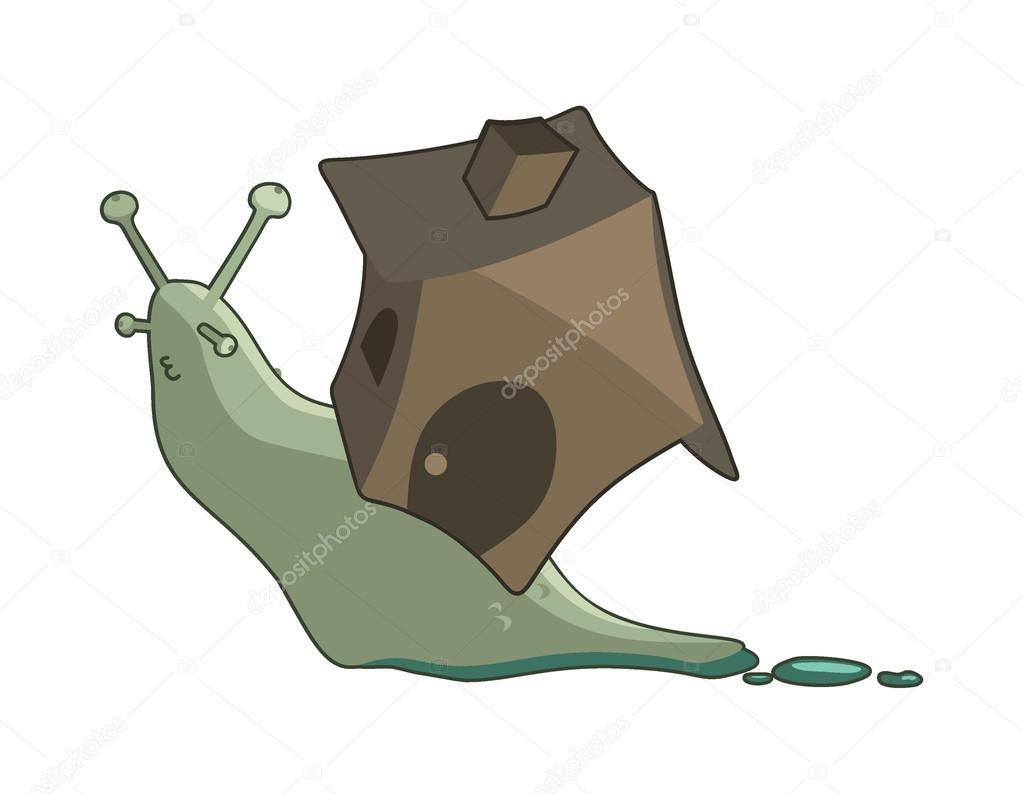 Lumaca di cartone animato con una casa u vettoriali stock jodo