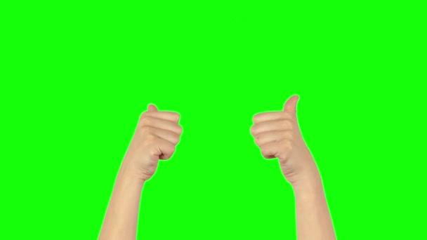 Palec nahoru na zelené obrazovce 4k