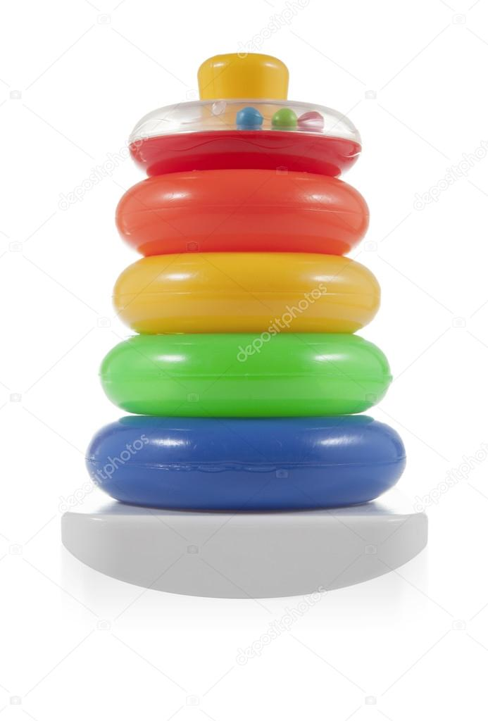 Construir pirámide de anillos de colores. Juguetes para bebés y ...