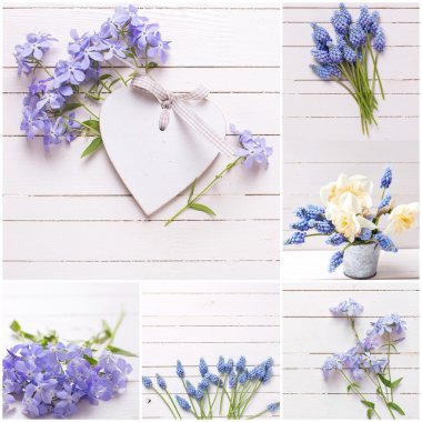 blue flowers and decorative heart