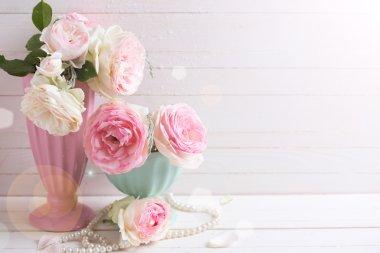 Sweet pink roses flowers