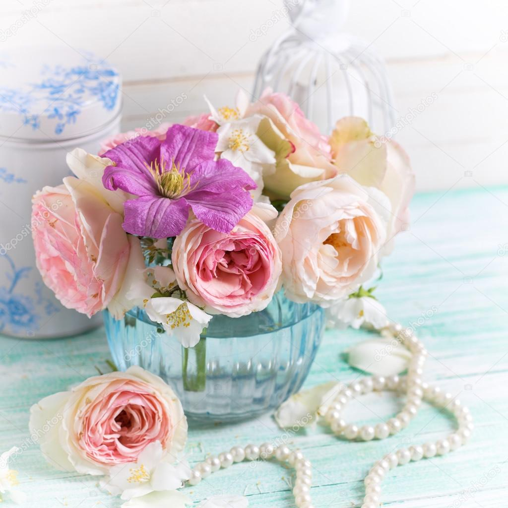 Roses Jasmine And Clematis Flowers Stock Photo Daffodil 85202576