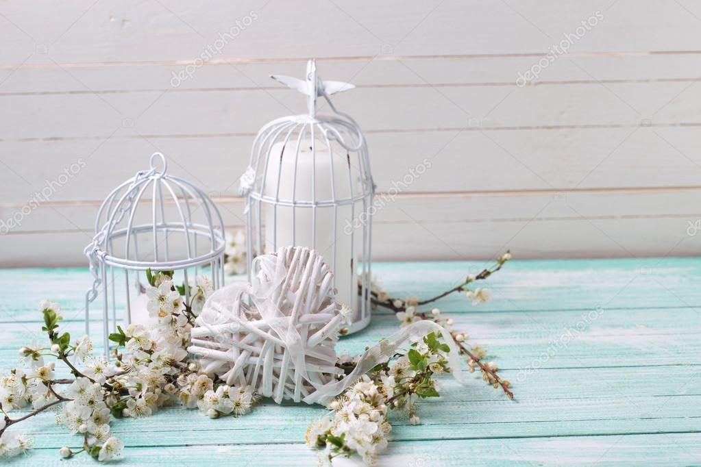 Decorative heart  and bird cages