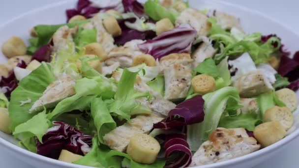 Chicken Salad with grilled chicken and croutons. Grilled chicken breast and fresh salad . Close-up