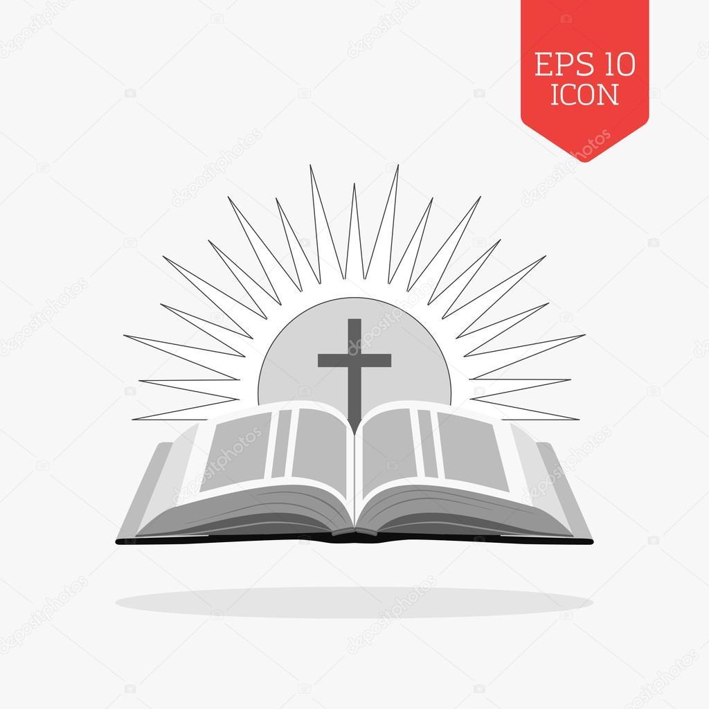 open bible with sun and cross icon church logo concept flat de