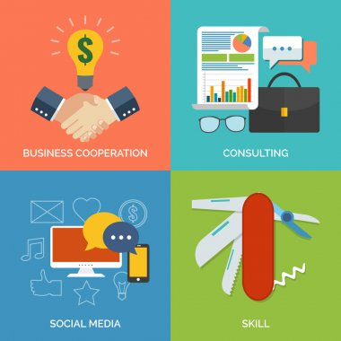Set of flat design concept icons for business. Business cooperat